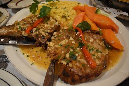 Pork Chops with Garlic Sauce, Sevilla Restaurant, Passaic, NJ