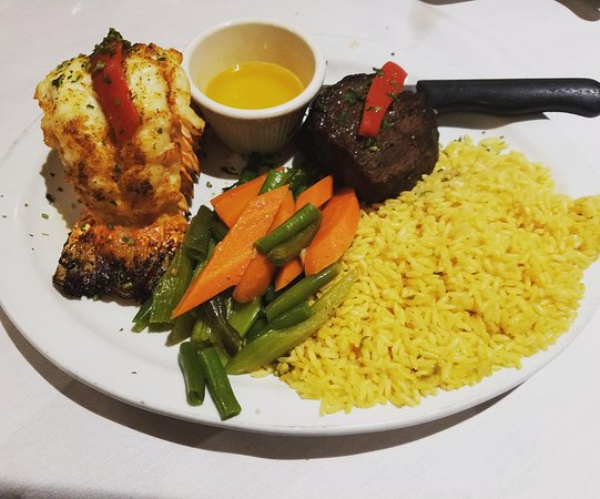 Surf and Turf (Lobster and Filet Mignon), Sevilla Restaurant, Passaic, NJ