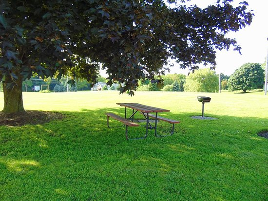 we have 3 outdoor grills and 2 picnic tables and a gorgeous view of the valley of Warsaw!