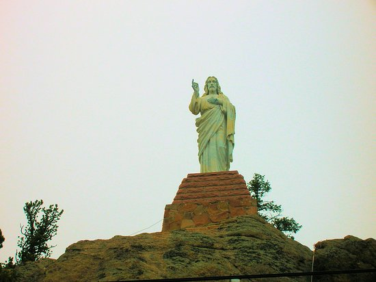 Allenspark, CO: Christ stature overlooking the Chapel on the Rock ~ St Malo Retreat