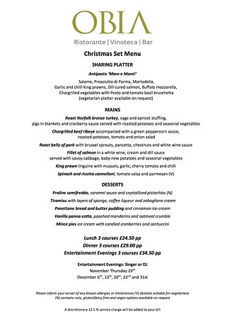 Purley, UK:  Have you booked your Christmas party? If not, think no further than Obia