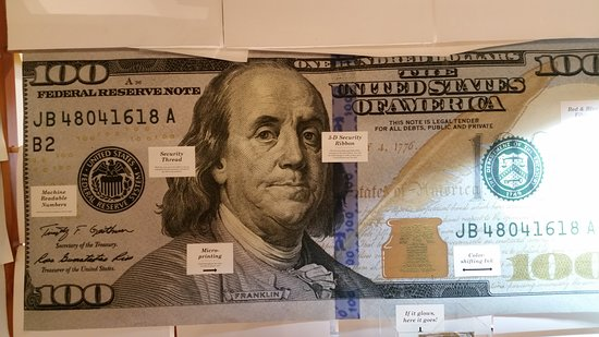 Crane Museum of Papermaking: Crane $100 bill security features