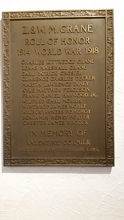 Dalton, MA: Zenas Crane listed on WW I honor roll