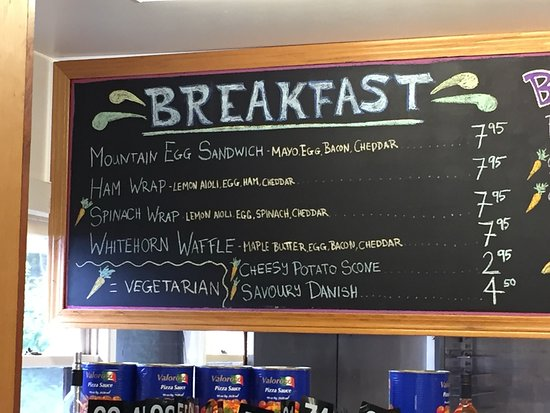 Cafe Mount Robson: Some of their menus around noon time.