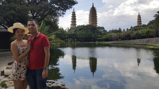 Chongsheng Three Pagodas: shadow of Pagodas
