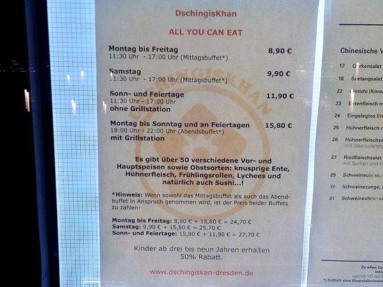 Dschingis Khan: Price list in window