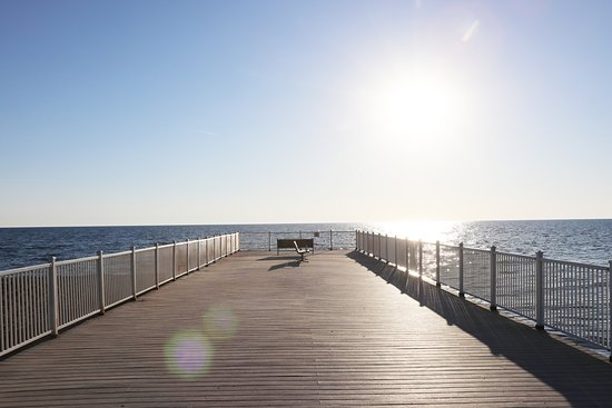 The pier offers outstanding views of Lake Michigan