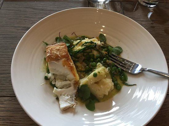 Buoy and Oyster : My birthday lunch: Pan Seared Halibut with cockles, mash, peas and samphire.