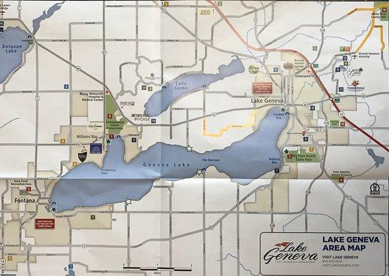 Map of Lake Geneva area - Picture of Geneva Lake, Lake ...