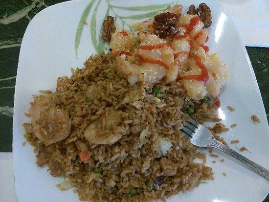 Salida, CA: House rice and Honey Walnut Shrimp