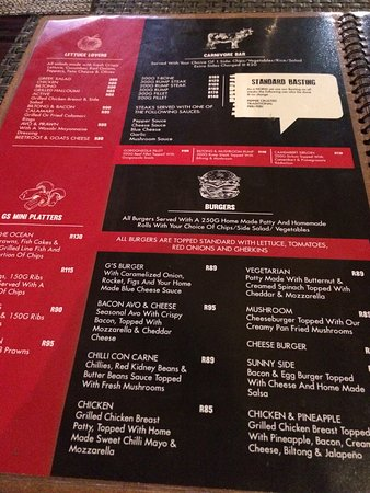 G's Bistro & Bar: menu