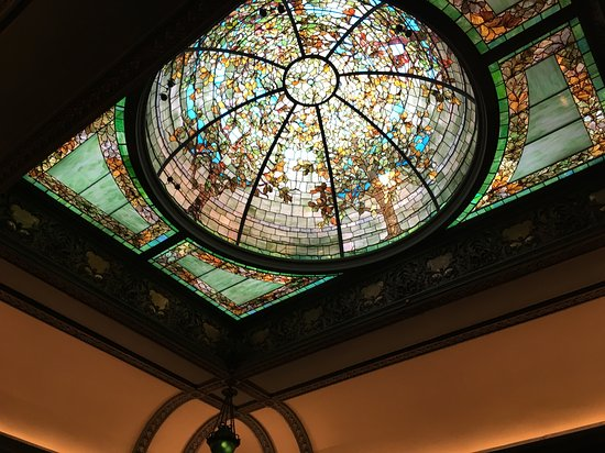 Richard H. Driehaus Museum: Art glass dome in the library