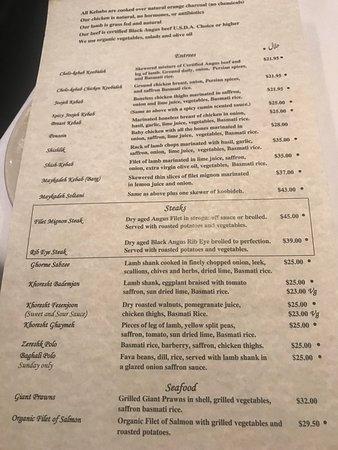 Maykadeh: menu
