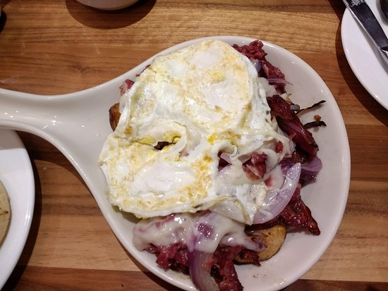 Brooklyn Park, MN: Corked Beef Skillet with eggs over hard