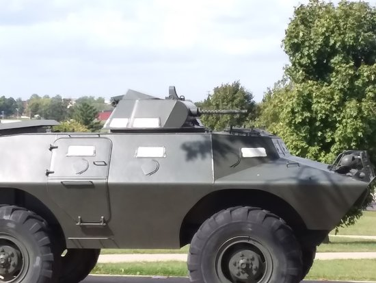 M-60 Tank: Military Police tactical vehicle, V-100 with twin machine guns.