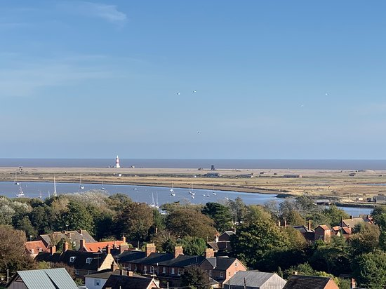 View from Orford Castle towards Orford Ness and the lighthouse