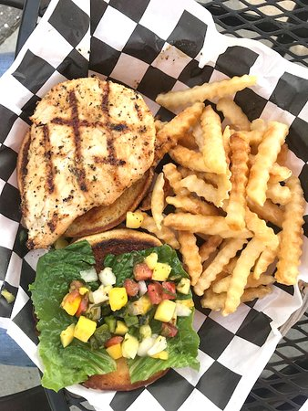 Round Lake, MN : Chicken Mango Sandwich - shown with fries.