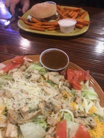 Gothenburg, Nebraska: Grilled Chicken salad, Parmesan Chicken sandwich with sweet potato fries