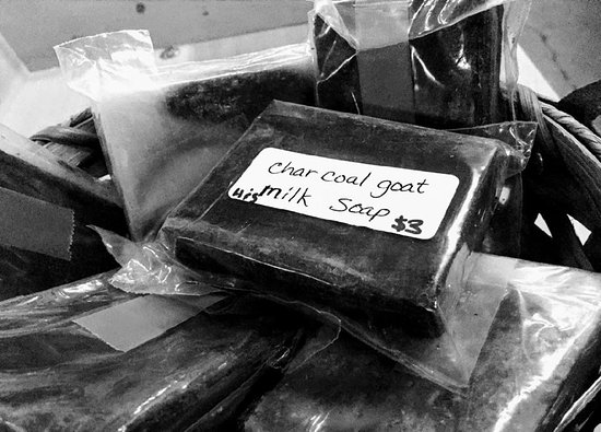 Ethridge, Теннесси: Local Amish made charcoal goat milk soap at the Amish Heritage Welcome Center gift shop.
