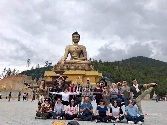 Buddha statue in Thimphu with Yelha Bhutan Tour groups  - Picture of