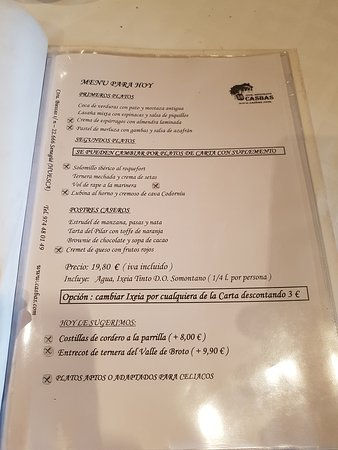 Senegue, Spain: Menu del Dia del PIlar