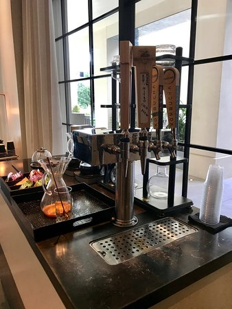 Coffee and kombucha on tap in the mornings (it's free - don't miss it!)