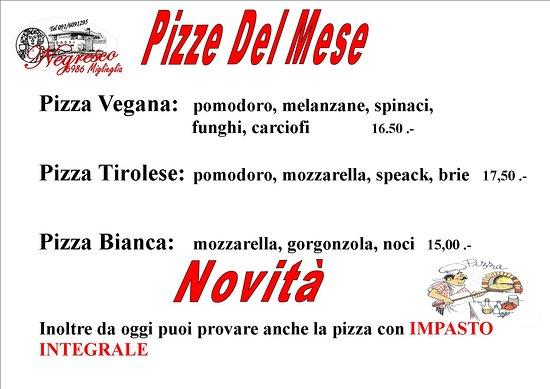 Miglieglia, Switzerland: Le nostre pizze extra del mese, inoltre da oggi anche impasto integrale.