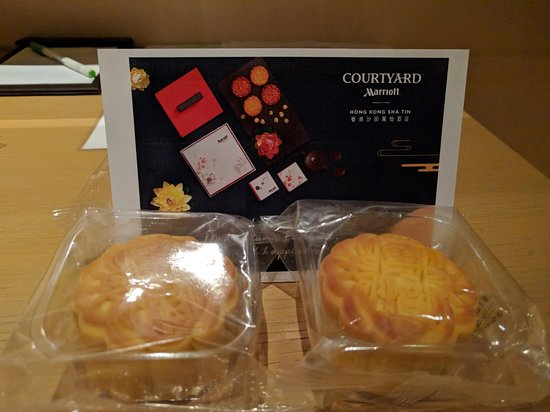 Complementary mini moon cakes gifted during mid-autumn