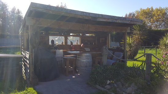 The outdoor kitchen with BBQ, pizza oven, 2-burner gas hobs ...