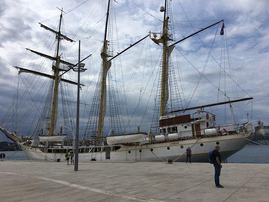 Tall Ship docked along the Porto Montenegro promenade