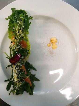 Birkerod, Dánsko: Letrøget LakseSalat med Røget Aioli