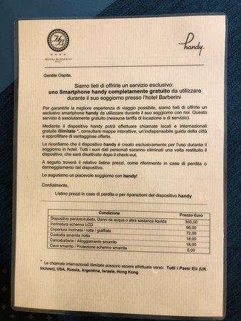 Barberini Hotel: termos de uso do telefone celular disponível para uso gratuito em Roma