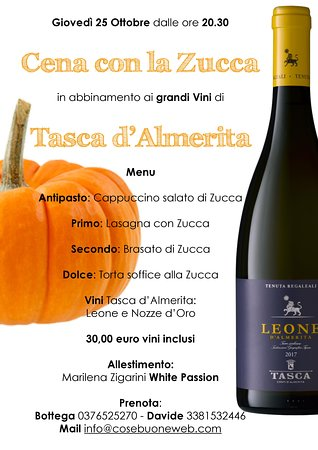 Pegognaga, Italien: Menu Cena con la Zucca di giovedì 25 ottobre dalle ore 20.30