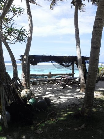 Ofu, Amerikansk Samoa: view of ocean from Vaoto Lodge grounds