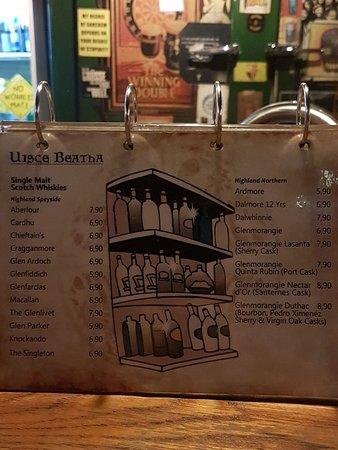 The Bogside Inn: Whiskyauswahl leider ohne Information