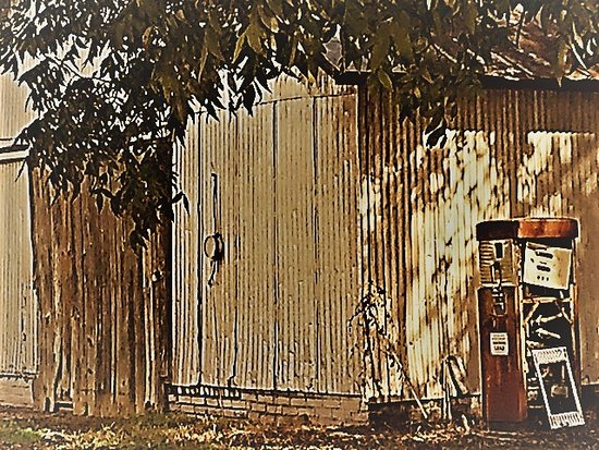 Cope, SC: Photoshopped pic of old gas pump and warehouse
