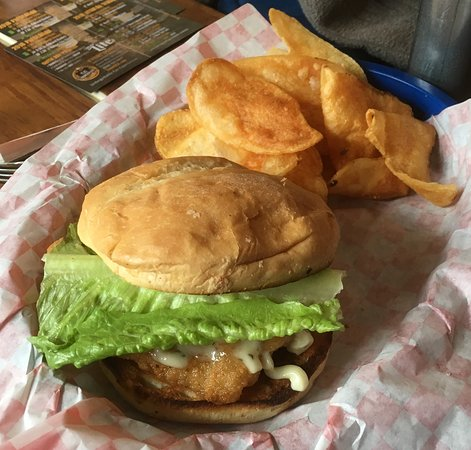 Conover, WI: Perch sandwich and home made potato chips.
