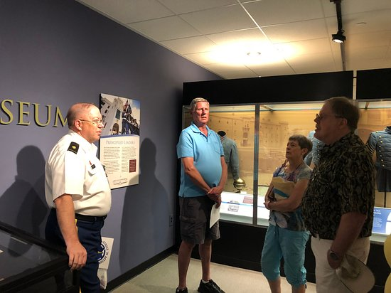 Major Smith (L) discusses early cadet life in the museum - Picture