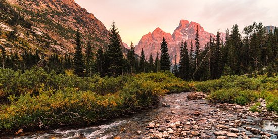 Cascade Canyon Trail: Alpenglow across the west face of Grand Teton, shot from North Fork Cascade Canyon (Josh Headley