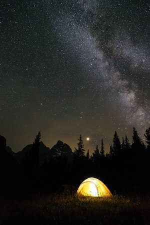 Cascade Canyon Trail: Grand Teton, Milky Way, Venus, and my tent at North Fork Cascade Canyon (Josh Headley 2018)