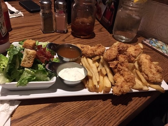 Chicken Tenders And Fries With Dill Dip Side Caesar Salad Picture Of State Main Kitchen Bar Kitchener Tripadvisor