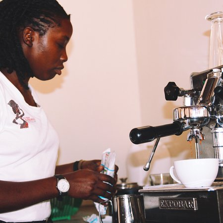 Moroto, Uganda: Enjoy cappuccino, late macchiato, espresso and other coffee specialities at the hotel cafe in Mo
