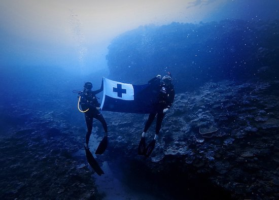Neiafu, Tonga: Dive Tonga flying the flag at 40 meters