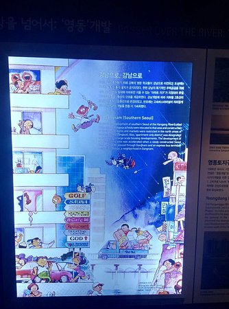 poster showing Seoul people's move to Gangnam