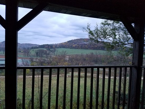 "La Farge, WI: View from porch of ""Slicks Joint"""