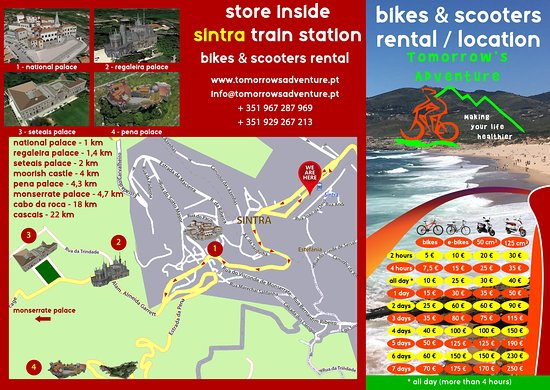 Price List and Sintra Map - Picture of Tomorrow's Adventure, Cascais on