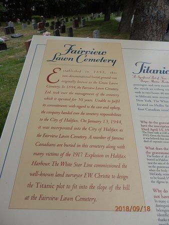 Fairview Lawn Cemetery: Tablica informacyjna o cmentarzu
