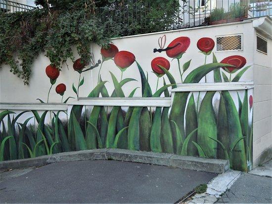 Fresque Fleurs Rouges