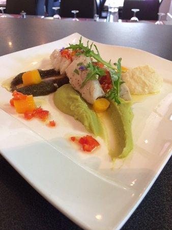 Escource, France: Morue à la provençale, 3 crémeux de légumes