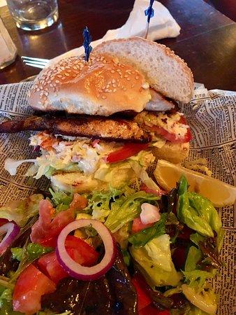 Swizzle Inn: Grilled Wahoo Sandwich with Salad